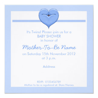 Twin Doves Heart blue Baby Shower Invitation