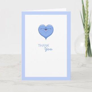 Twin Doves Heart blue Baby Shower Thank You Card card