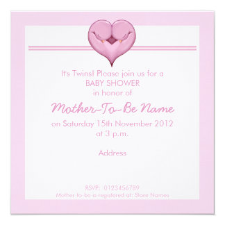 Twin Doves Heart pink Baby Shower Invitation