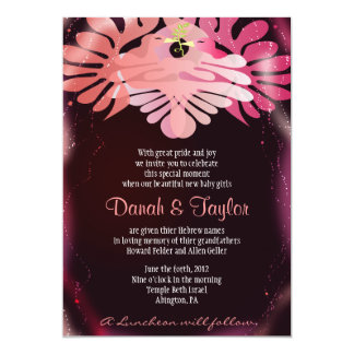 Twin Doves Jewish Baby Naming Invitation Hebrew