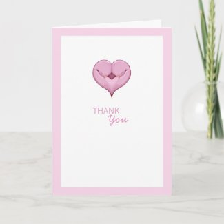 Twin Doves pink Baby Shower Thank You Card card