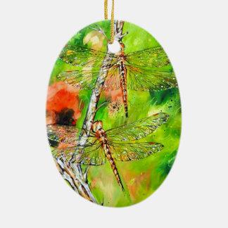 Twin Dragonflies Ceramic Ornament