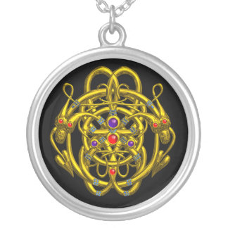 TWIN DRAGONS Black Round Pendant Necklace