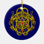 TWIN DRAGONS blue Christmas Ornament