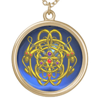 TWIN DRAGONS Blue Sapphire Round Pendant Necklace