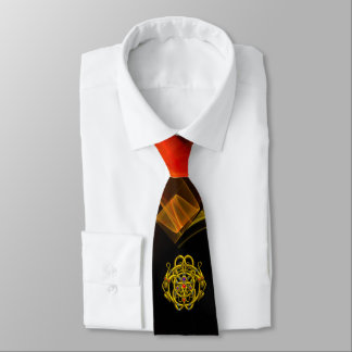 TWIN DRAGONS,GOLD CELTIC KNOTS Orange Black Swirls Tie
