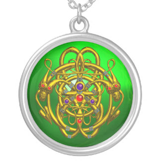 TWIN DRAGONS Green Emerald Round Pendant Necklace