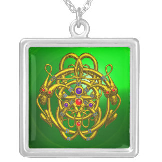 TWIN DRAGONS Green Emerald Silver Plated Necklace