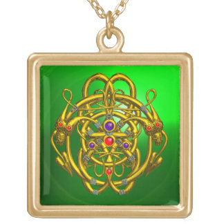 TWIN DRAGONS Green Emerald Square Pendant Necklace