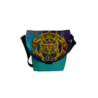TWIN DRAGONS  IN TEAL BLUE GREEN GOLD SPARKLES MESSENGER BAG