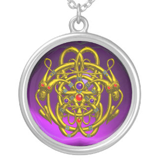 TWIN DRAGONS Purple Amethyst Round Pendant Necklace