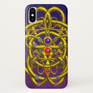 TWIN DRAGONS Purple Blue iPhone X Case