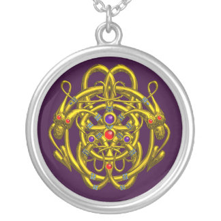 TWIN DRAGONS Purple Silver Plated Necklace