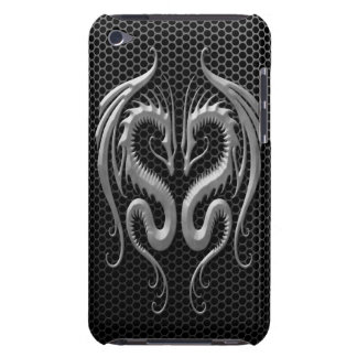 Twin Dragons with Steel Mesh Effect Barely There iPod Cover