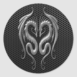 Twin Dragons with Steel Mesh Effect Classic Round Sticker