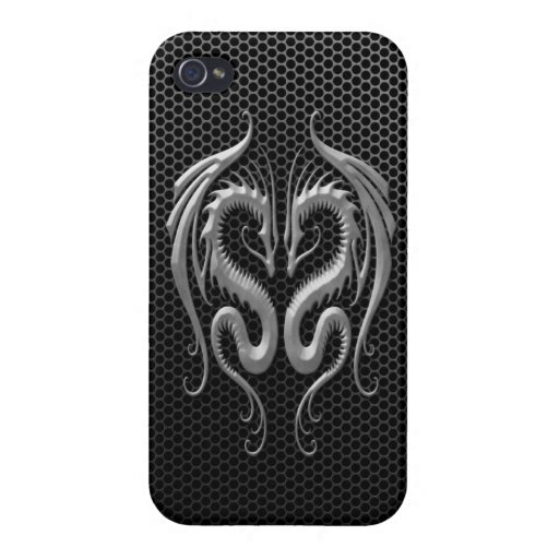 Twin Dragons with Steel Mesh Effect iPhone 4/4S Covers