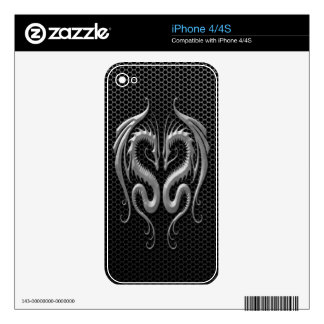 Twin Dragons with Steel Mesh Effect Skin For The iPhone 4
