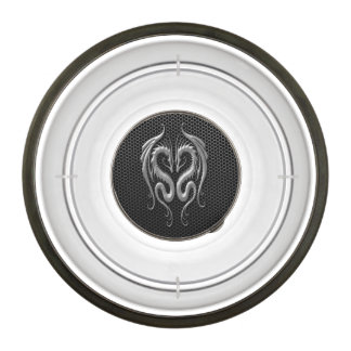 Twin Dragons with Steel Mesh Effect Pet Bowl
