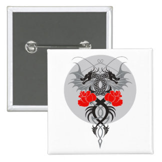 Twin Dragons With Tails Entwined Red Roses 2 Inch Square Button