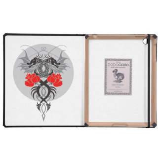 Twin Dragons With Tails Entwined Red Roses iPad Covers