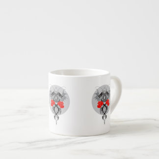 Twin Dragons With Tails Entwined Red Roses Espresso Cup