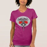 Twin Dragons With Tails Entwined Red Roses T-shirt
