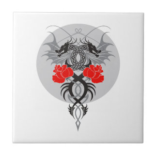 Twin Dragons With Tails Entwined Red Roses Tile