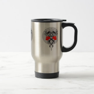 Twin Dragons With Tails Entwined Red Roses Travel Mug
