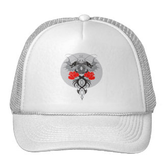 Twin Dragons With Tails Entwined Red Roses Trucker Hat