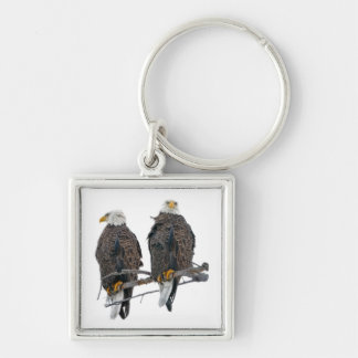 Twin eagles Silver-Colored square keychain