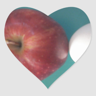 Twin Egg red apple for a pie  Heart Stickers. Heart Sticker