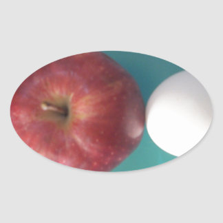 Twin Egg red apple for a pie.JPG Oval Sticker