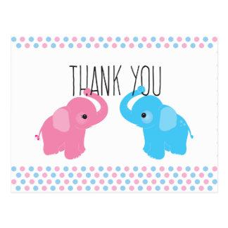 Twin Elephant Baby Shower Thank You Postcard