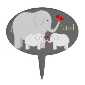 Twin Elephant Neutral Baby Shower Cake Pick