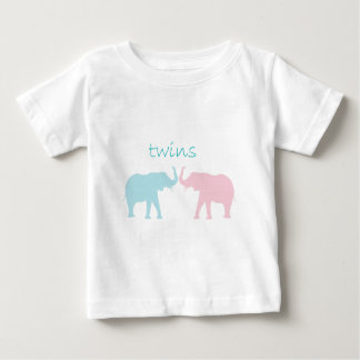 Twin Elephant Pink And Blue Baby T-Shirt