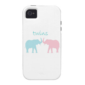 Twin Elephant Pink And Blue Case-Mate iPhone 4 Cover