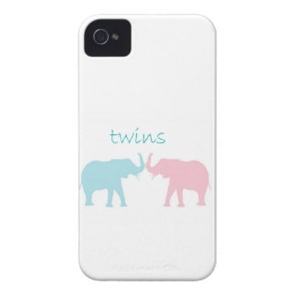 Twin Elephant Pink And Blue Case-Mate iPhone 4 Cases