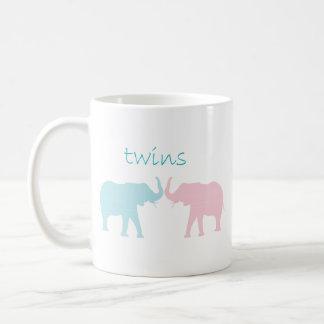 Twin Elephant Pink And Blue Coffee Mug