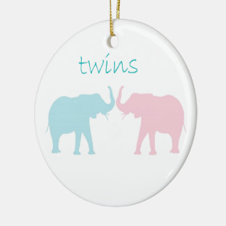 Twin Elephant Pink And Blue Double-Sided Ceramic Round Christmas Ornament