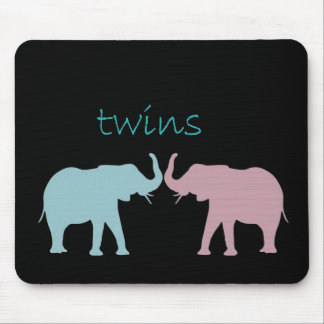 Twin Elephant Pink And Blue Mousepad
