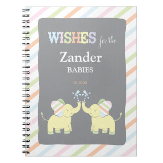 Twin Elephants |  Advice Baby Shower Notepad Notebook