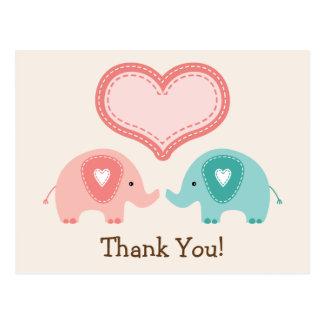 Twin Elephants Baby Shower Thank You Postcard