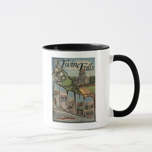 Twin Falls, Idaho - Large Letter Scenes Mug