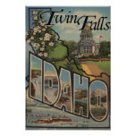 Twin Falls, Idaho - Large Letter Scenes Poster