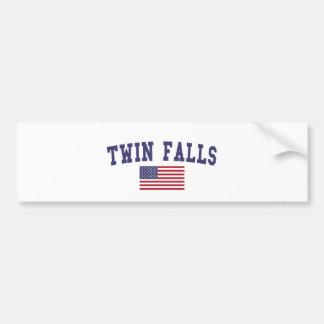 Twin Falls US Flag Bumper Sticker