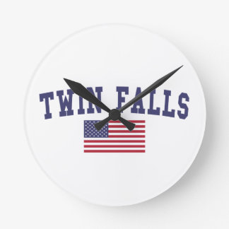 Twin Falls US Flag Round Clock