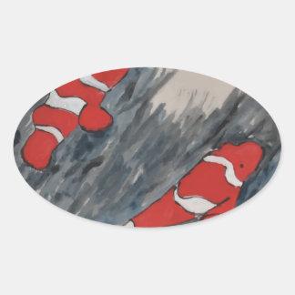 Twin fish oval sticker