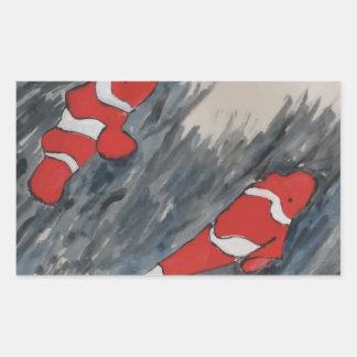 Twin fish rectangular sticker