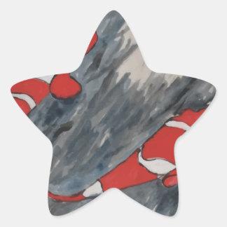 Twin fish star sticker