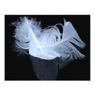 "Twin flame feathers and reflection 4.25"" x 5.5"" invitation card"